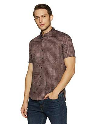 Casual Terrains Men's Hipster Satin Finish Tailored Slim-Fit Short-Sleeve Dress Shirt