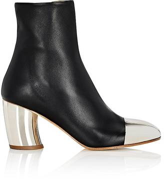 Women's Curved-Heel Leather Boots
