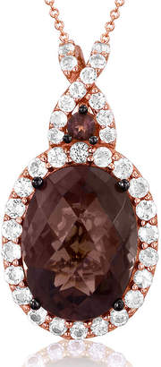 LeVian CORP LIMITED QUANTITIES Grand Sample Sale by Le Vian Genuine Chocolate Quartz and Vanilla Topaz 14K Strawberry Gold Pendant Necklace