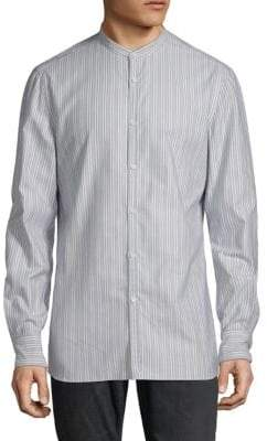 Striped Mandarin Collar Cotton Button-Down Shirt