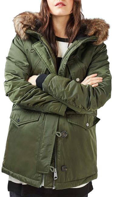 TopshopTOPSHOP Jess Parka with Faux Fur Trim