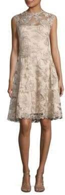 Tadashi Shoji Embroidered Lace A-Line Dress