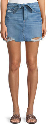 Paige Aideen Tie-Front Distressed Denim Skirt