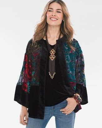 Chico's Travelers Collection Multi-Colored Velvet Burnout Kimono