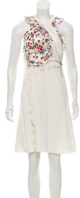 3.1 Phillip Lim Silk Ruffle-Accented Floral Dress