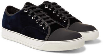 Lanvin Cap-Toe Velvet And Leather Sneakers