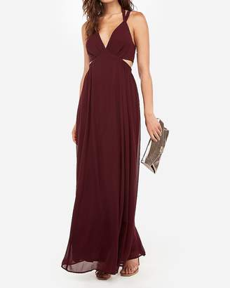 Express Plunge Side Cut-Out Halter Maxi Dress