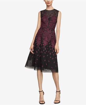 BCBGMAXAZRIA Floral-Embroidered Evening Dress