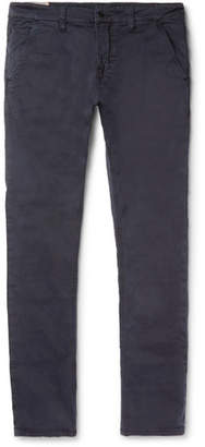 Nudie Jeans Slim Adam Garment-Dyed Stretch Organic Cotton-Twill Trousers - Navy