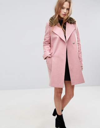 Asos DESIGN Coat with Leopard Print Collar