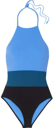 Diane von Furstenberg Color-block Halterneck Swimsuit - Blue