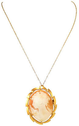 One Kings Lane Vintage Edwardian 10K Gold & Shell Cameo Pendant