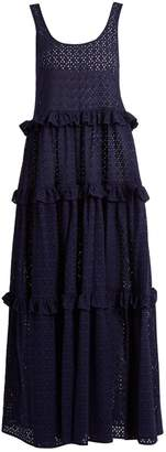 Lisa Marie Fernandez Ruffle-tiered broderie-anglaise cotton maxi dress