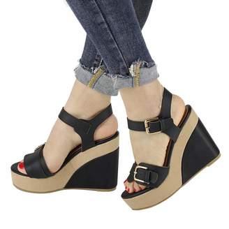 e3cf61b06fd Vimisaoi Women s Comfy Wedges Sandals High Platform Peep Toe Ankle Strap  Double Buckle Pumps Shoes