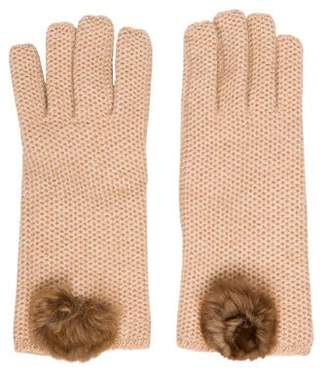 Loro Piana Cashmere Chinchilla-Accented Gloves