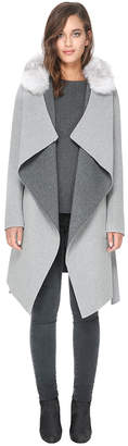 Soia & Kyo SAMIA-RVFX reversible double-face wool coat with removable fur