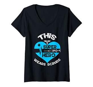 Womens This super hero wears scrubs nurse student graduate gifts V-Neck T-Shirt
