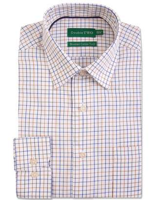 Men's Double TWO Multi Check Brushed Cotton Formal Shirt
