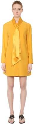 Tory Burch Silk Satin Dress W/ Bow Collar