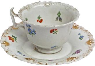 One Kings Lane Vintage Porcelain Meissen Floral Cup & Saucer - Vermilion Designs