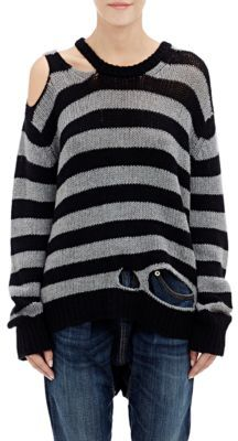 R13 Women's Distressed Striped Sweater-BLACK $995 thestylecure.com