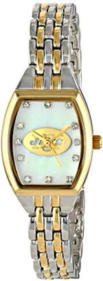 Game Time Women's NFL-WCL-NYJ World Class Two-Tone Stones Analog Display Japanese Quartz Silver Watch