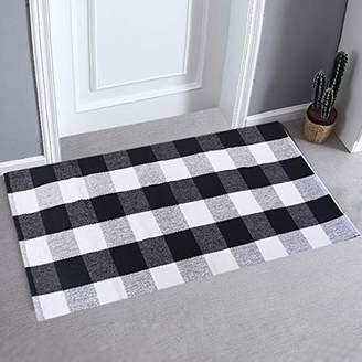 "Buffalo David Bitton LHtrade Cotton Rug Checkered Plaid Area Rug Bath Runner Door Mat for Entry Way Washable Bath Doormat Bedroom Carpet (24"" x 51"""