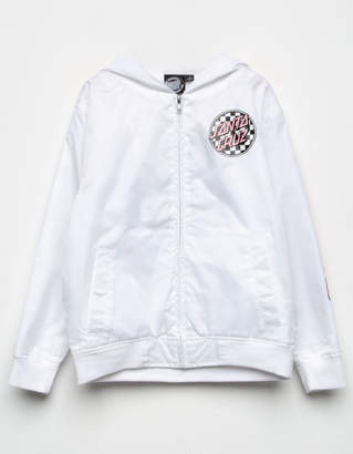 Santa Cruz Cloud Check White Girls Windbreaker Jacket