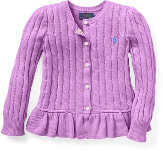 Ralph Lauren Cotton Peplum Cardigan