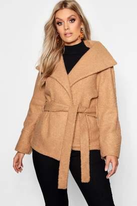 boohoo Plus Twisted Wool Look Belted Coat
