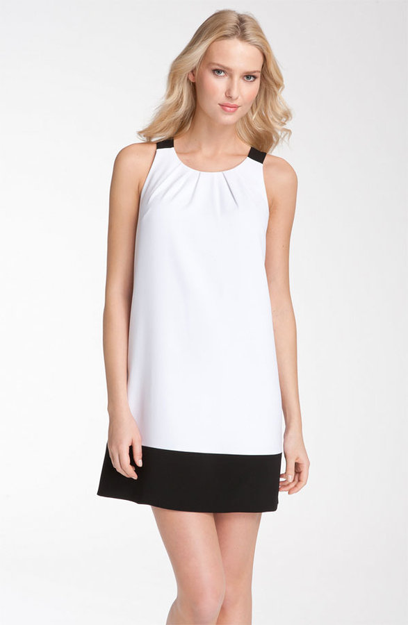 Donna Ricco Colorblock Pleated Neck Jersey Shift Dress