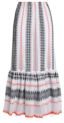 Lemlem Fluted Embroidered Cotton-Blend Gauze Maxi Skirt