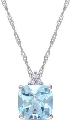 Tangelo 2-1/2 Carat T.G.W. Sky Blue Topaz and Diamond-Accent 10k White Gold Drop Pendant, 17