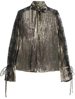 Perseverance Woman Pussy-bow Lace-trimmed Metallic Silk-blend Blouse Gold Size 10 Perseverance London Amazing v3lng
