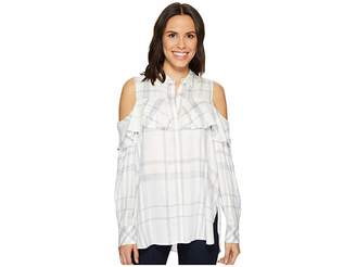 Vince Camuto Long Sleeve Cold Shoulder Ruffled Space Dye Plaid Blouse Women's Long Sleeve Pullover