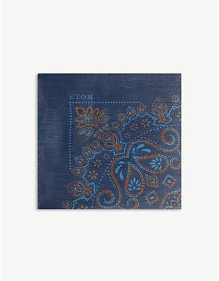 Eton Paisley linen pocket square
