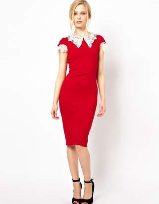 Lydia Bright Pencil Dress with Lace Collar and Sleeve Detail