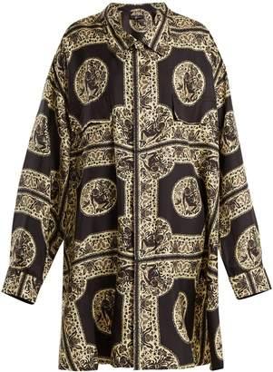 EDWARD CRUTCHLEY Oversized monkey-print silk shirt dress