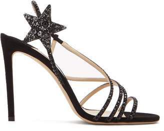 Jimmy Choo Lynn 100 Crystal Embellished Suede Sandals - Womens - Black
