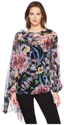 Prabal Gurung Floral Chiffon Long Sleeve Top w/ Scarf Women's Blouse