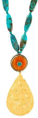 Devon Leigh Turquoise & Acrylic Beaded Pendant Necklace
