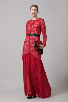 Amanda Wakeley Red Paisley Lace & Tulle Long Dress