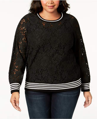 INC International Concepts I.N.C. Plus Size Lace Sweatshirt, Created for Macy's
