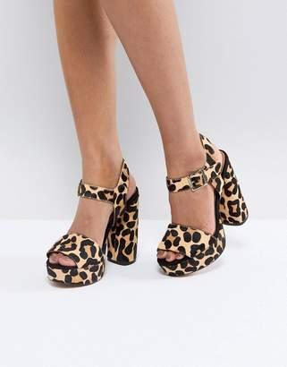 Asos DESIGN HIDDEN GEM Leather Platform Sandals