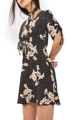 Women's Topshop Floral Spot Tie Tea Dress $90 thestylecure.com