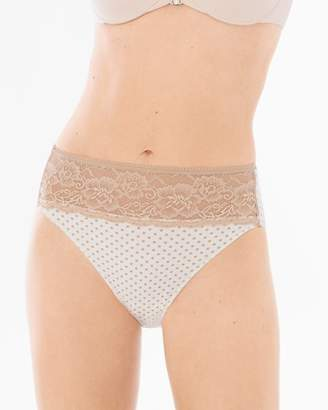 Vanishing Edge Cotton Blend with Lace High Leg Brief