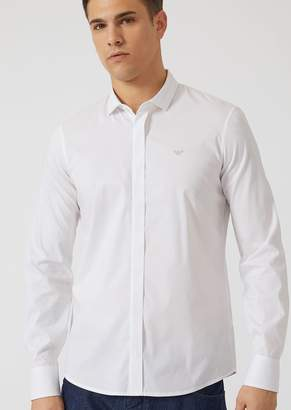 Emporio Armani Slim-Fit Shirt With Stitching On The Collar And Embroidered Logo