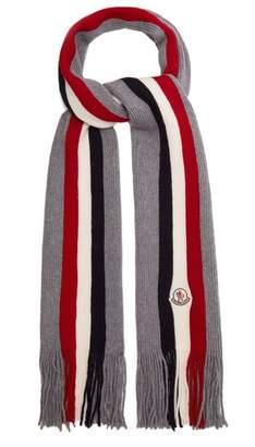 Moncler Striped Wool Scarf - Mens - Grey Multi