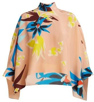 DELPOZO Cape Sleeve Hibiscus Print Silk Blouse - Womens - Beige Print