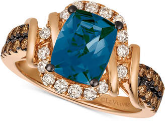 LeVian Le Vian Chocolate & Nude Deep Sea Blue Topaz (2-1/10 ct. t.w.) & Diamond (5/8 ct. t.w.) Ring in 14k Rose Gold